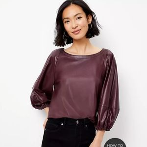 NEW! $69.50 LOFT FAUX LEATHER DRAPED SLEEVE TOP S